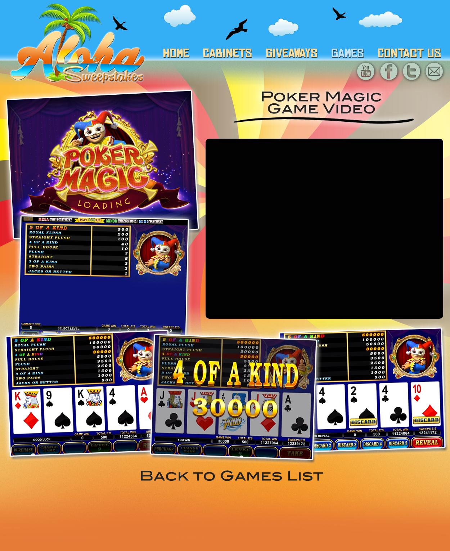 Aloha Sweepstakes Games Videos - Poker Magic